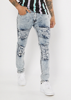 Light Acid Wash Ripped Moto Skinny Jeans