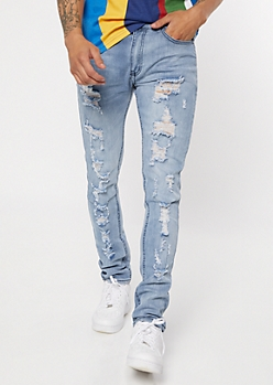 Medium Stone Wash Ripped Skinny Jeans