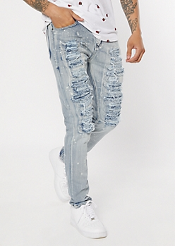 Antique Bleached Destructed Skinny Jeans