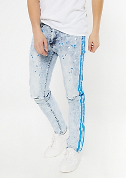 Supreme Flex Acid Wash Paint Splattered Skinny Jeans