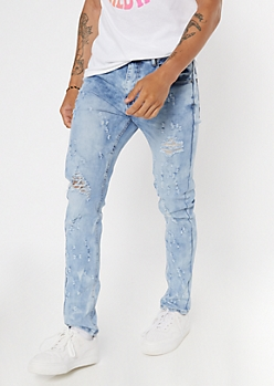 Light Cloud Bleach Wash Ripped Skinny Jeans