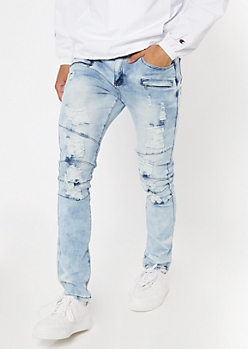 Light Cloud Bleach Wash Skinny Jeans