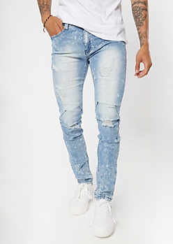 Light Wash Bleach Splatter Ripped Skinny Jeans