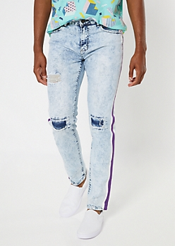 Light Acid Wash Ripped Repaired Side Striped Skinny Jeans