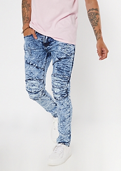 Light Ice Wash Moto Skinny Jeans