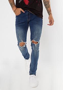 Dark Wash Ripped Knee Skinny Jeans