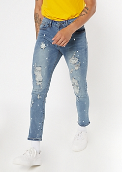 Medium Faded Wash Ripped Skinny Jeans