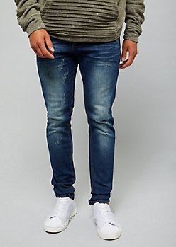 Dark Wash Distressed Sandblasted Skinny Jeans