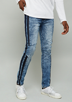 Dark Acid Wash Knit Side Striped Skinny Jeans