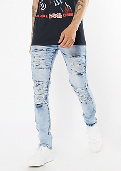 Light Wash Ripped Repaired Moto Skinny Jeans
