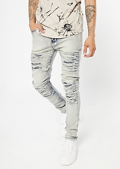 Medium Wash Sandblasted Ripped Moto Skinny Jeans