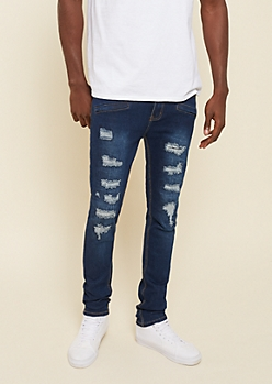 Dark Wash Repaired Destruction Skinny Jeans