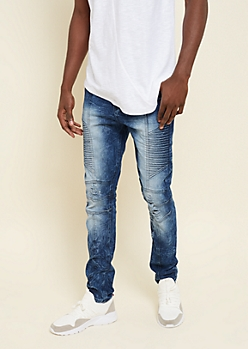 Dark Wash Moto Side Skinny Jeans