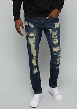 Flex Dark Wash Ripped Patch Front Skinny Jeans