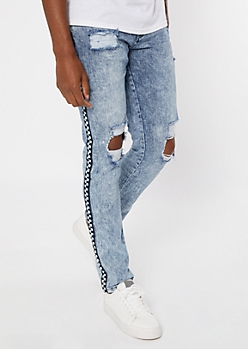 Supreme Flex Medium Wash Checkered Print Skinny Jeans