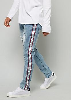 Flex Light Wash Savage Side Striped Skinny Jeans