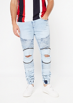 Supreme Flex Light Acid Wash Blown Zip Knee Joggers