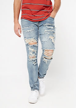 Supreme Flex Light Wash Rip Repair Skinny Jeans