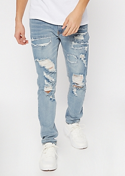 Supreme Flex Medium Wash Rip Repair Skinny Jeans