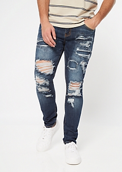 Supreme Flex Dark Wash Rip Repair Skinny Jeans