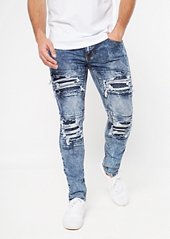 Supreme Flex Dark Acid Wash Moto Distressed Skinny Jeans