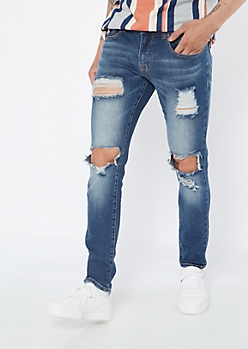 Supreme Flex Dark Wash Blown Knee Skinny Jeans