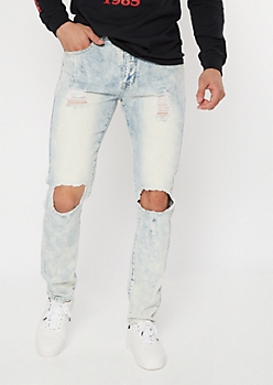 Supreme Flex Light Acid Wash Blown Knee Skinny Jeans