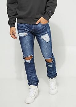 Flex Skinny Fit Frayed Cutout Dark Wash Jeans