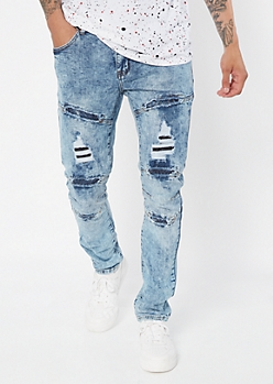 Supreme Flex Medium Acid Wash Ripped Repaired Skinny Jeans