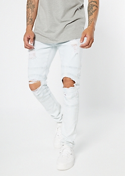 Supreme Flex Light Wash Ripped Knee Moto Skinny Jeans