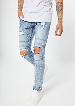 Supreme Flex Medium Wash Ripped Knee Moto Skinny Jeans