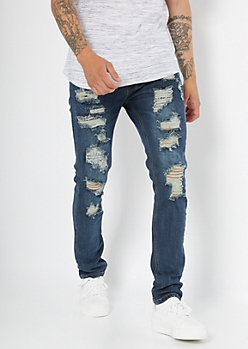 Supreme Flex Dark Wash Ripped Repaired Skinny Jeans