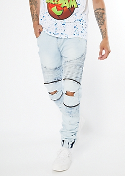 Supreme Flex Light Acid Wash Moto Joggers