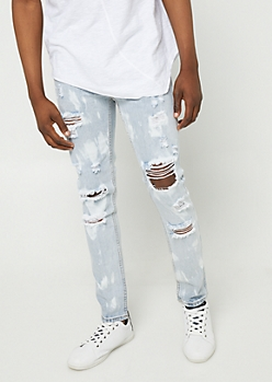 Flex Light Wash Bleached Blown Out Skinny Jeans