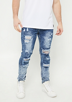 Medium Wash Sandblasted Distressed Skinny Jeans