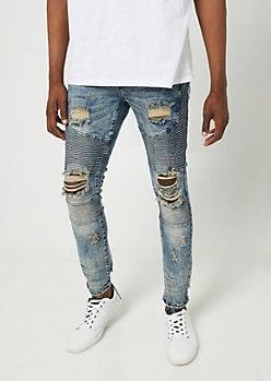 Flex Medium Wash Tinted Skinny Moto Jeans
