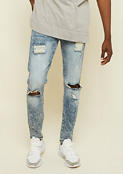 Flex Medium Acid Wash Ripped Knee Skinny Jeans