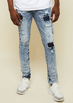 Flex Light Acid Wash Patched Skinny Jeans