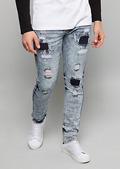 Medium Acid Wash Patched Distressed Skinny Jeans