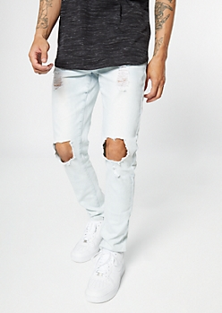 Flex Light Acid Wash Ripped Knee Skinny Jeans