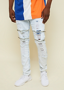 Flex Light Acid Wash Zippered Knee Skinny Jeans