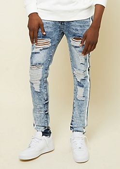 Flex Medium Acid Wash Side Striped Skinny Jeans