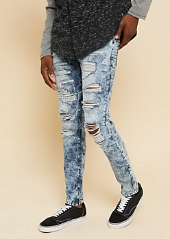 Flex Medium Acid Wash Patched Rip Skinny Jeans