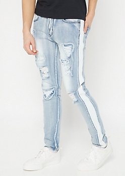 Supreme Flex Bleached Distressed Moto Skinny Jeans