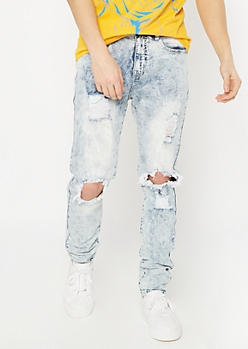 Supreme Flex Acid Wash Cutout Relaxed Taper Jeans