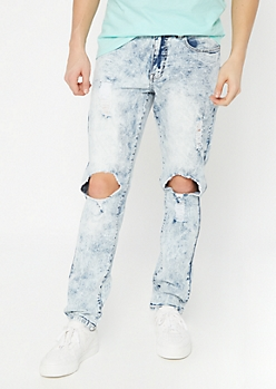Supreme Flex Acid Wash Cutout Slim Jeans
