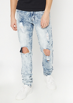 Supreme Flex Acid Wash Cutout Stacked Skinny Jeans