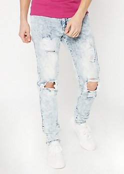 Supreme Flex Acid Wash Cutout Slim Taper Jeans