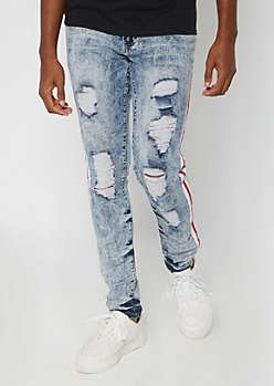 Supreme Flex Light Acid Wash Side Striped Skinny Jeans