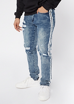 Medium Wash Destroyed Side Stripe Jeans